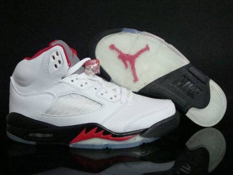 Air Jordan 5 Retro Shoes White/Red