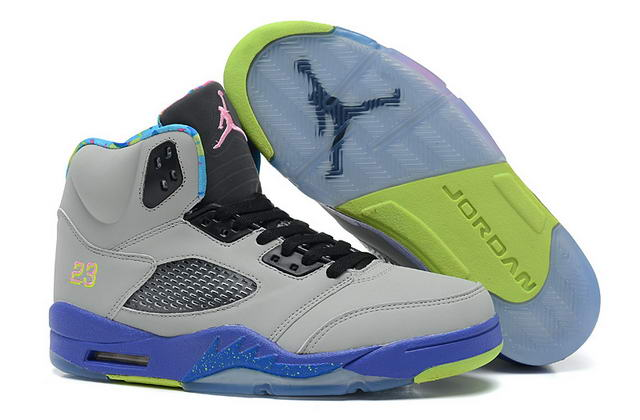 Air Jordan 5 New Color Shoes Light gray/Blue/Green