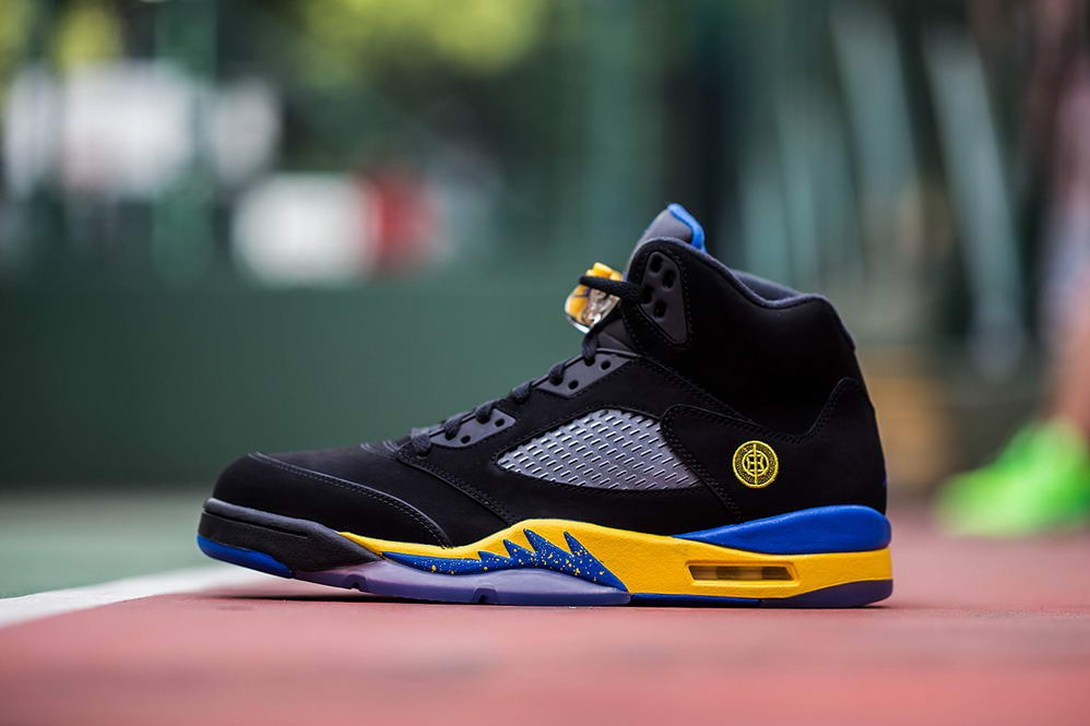 Air Jordan 5 Shanghai Shen Shoes black/Corn/blue