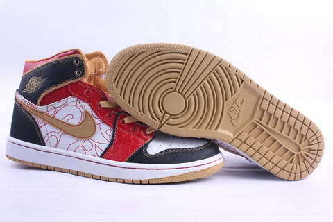 Air Jordan 1 Retro XQ China Shoes White/Gold Dust Sport Red Black