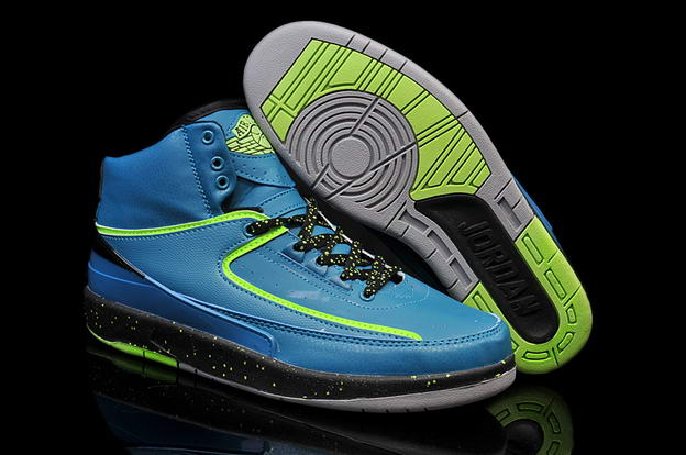 Air Jordan 2 Retro Shoes Nightshade blue/green black