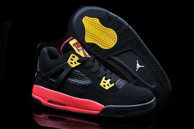 Air Jordan 4 Pirates Shoes Black/yellow red