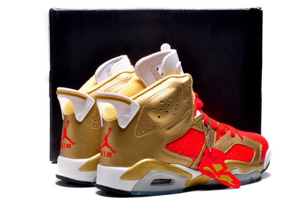 Air Jordan 6 Retro Shoes Gold/red white