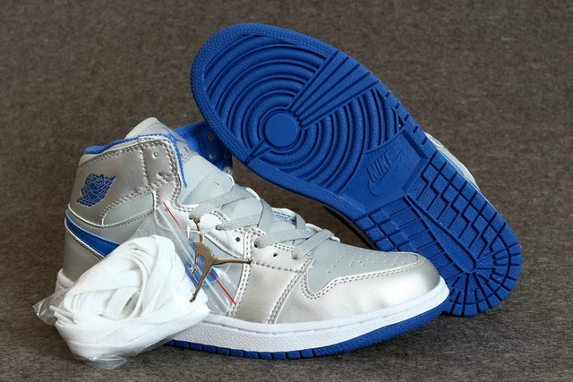 Air Jordan 1 Mid Shoes Silver/blue white