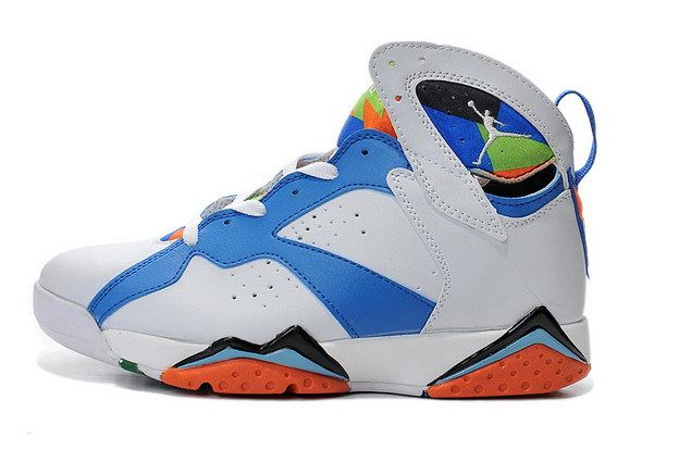 Air Jordan 7 Retro Shoes White/blue orange