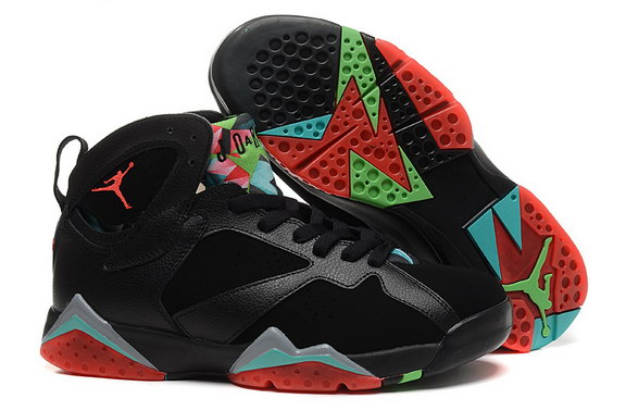 Air Jordan 7 Retro Shoes Black/red grey green
