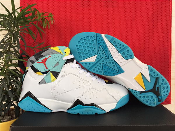 Air Jordan 7 Retro Shoes White/blue yellow red