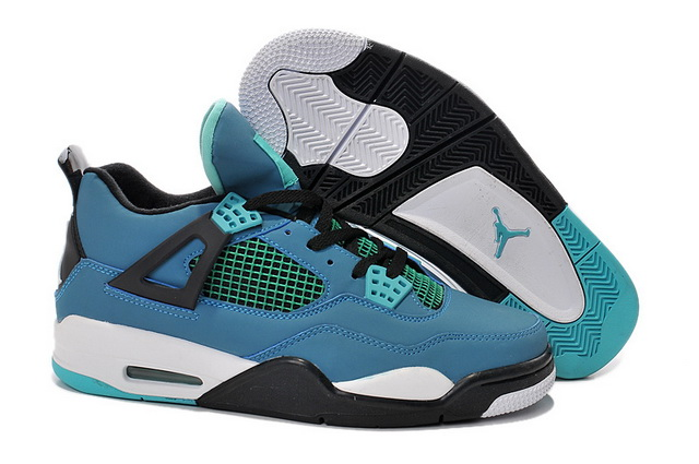 Air Jordan 4 Retro Shoes Blue/green balck white