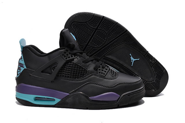 Air Jordan 4 Retro Shoes black/purple blue