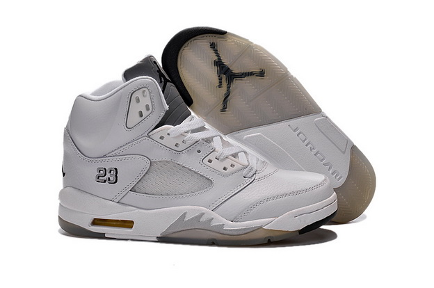 Air Jordan 5 white metallic Shoes White/silver