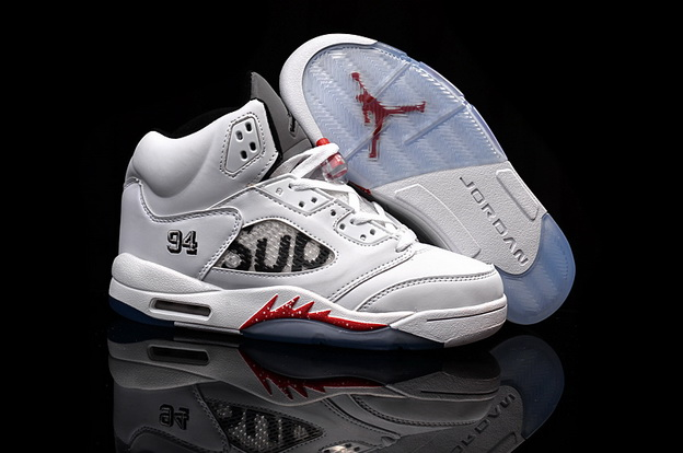 Supreme x Air Jordan 5 Shoes White/red black