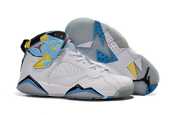 Air Jordan 7 Retro Shoes White/blue yellow black