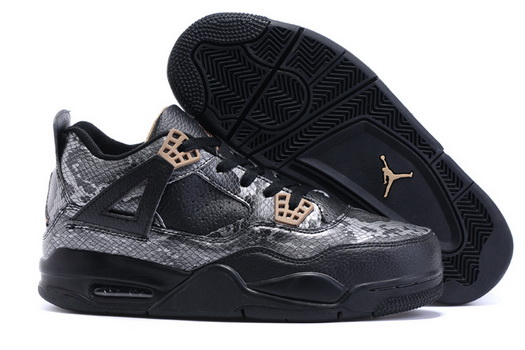 "Air Jordan 4 ""Snake"" Shoes Black/silver gold"