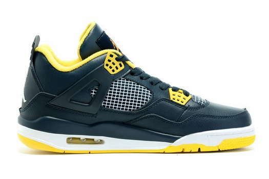 "Air Jordan 4 ""2016 Spring"" Shoes Black/yellow white"