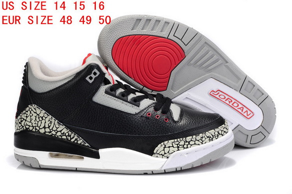 "Air Jordan 3 Big Size ""14 15 16"" Shoes Black/Cement grey white red"