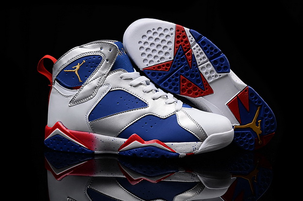 Men's Air Jordan 7 Retro Shoes Blue/silver white red