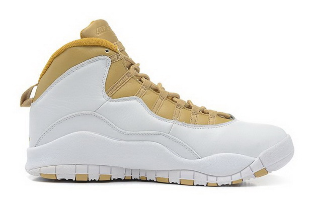 Air Jordan 10 Retro Shoes White/gold