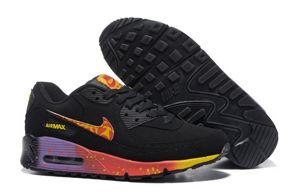 Men's Cheap Air Max 90 Shoes Black/fire red purple