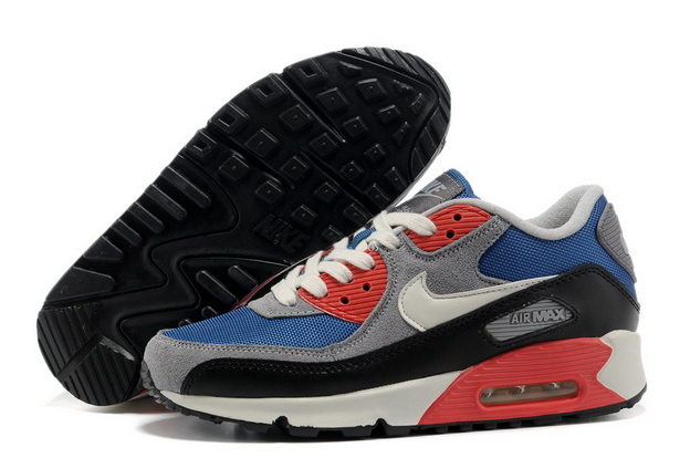 Men's Cheap Air Max 90 Shoes Blue/red gray black