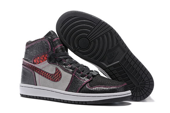 "Air Jordan 1 ""Brooklyn Zoo"" Shoes Black/Red Gray"