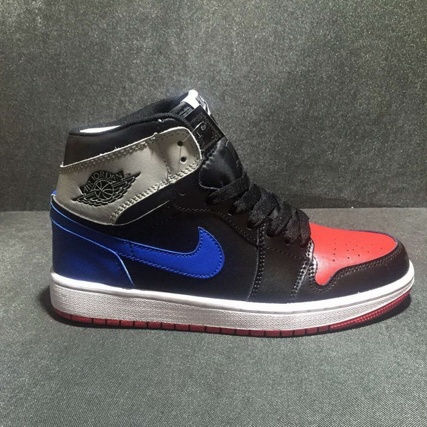 Air Jordan 1 Retro Shoes Black/Blue Red Grey