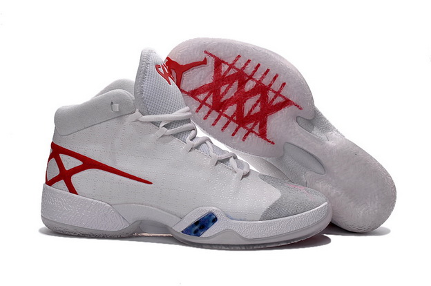 Air Jordan 30 XXX Shoes White/Red Grey