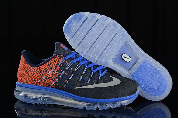 Men's Air Max 2016 Shoes Black/Red Blue Grey