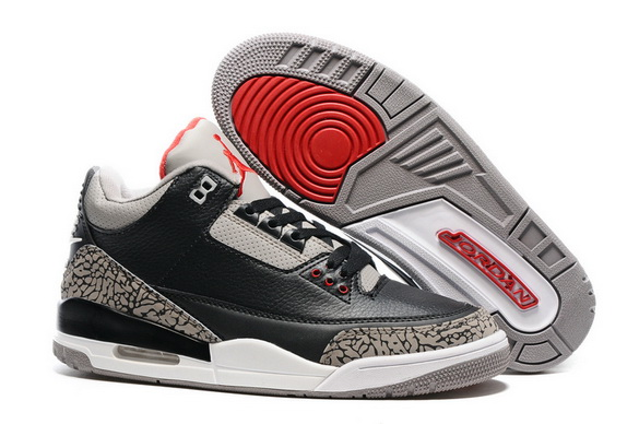 "Air Jordan 3 Retro ""Air Logo Tab"" Shoes Black/Cement Red White"