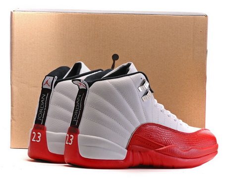 "Air Jordan 12 Retro ""Away"" Shoes White/Fire red"