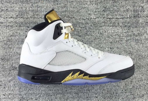 "Air Jordan 5 ""Olympic"" Shoes White/Metallic Gold Black"