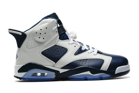 Air Jordan 6 Retro Shoes White/Dark Blue