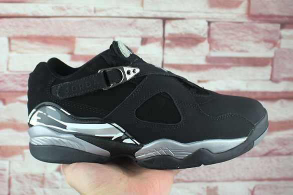 "Air Jordan 8 Low ""Chrome"" Shoes Black/Silver White Grey"