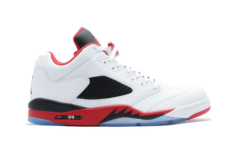 """Fire Red"" Air Jordan 5 Retro Low Shoes White/red black"