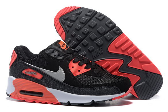 Men's Air Max 90 Shoes Black/Red Grey