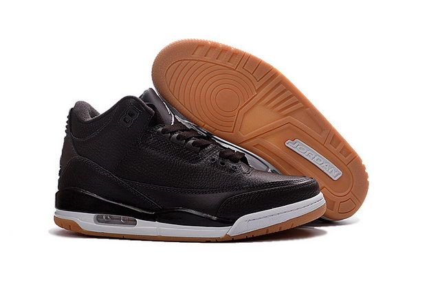 Air Jordan 3 Retro Shoes Black/White Brown