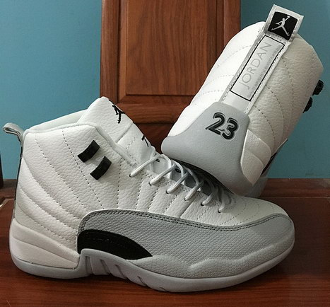 "Air Jordan 12 ""Barons"" Shoes White/Black Wolf Grey"