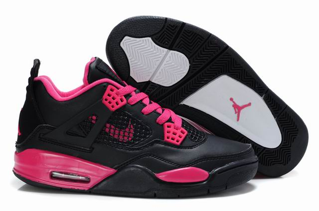 Womens Air Jordan 4 Shoes Black/Red