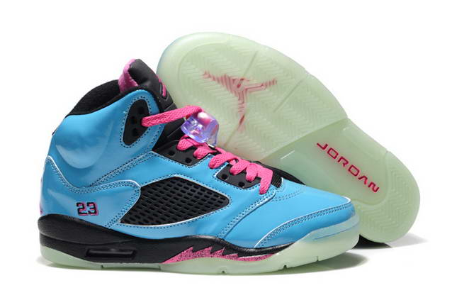 Womens Jordan V Shoes Blue/Pink/Black
