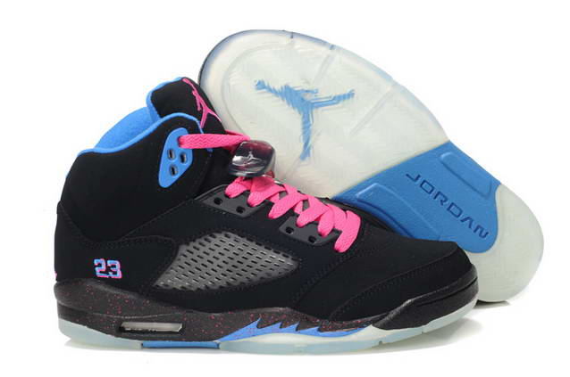 Womens Jordan V South Coast Shoes Black/Blue/Pink