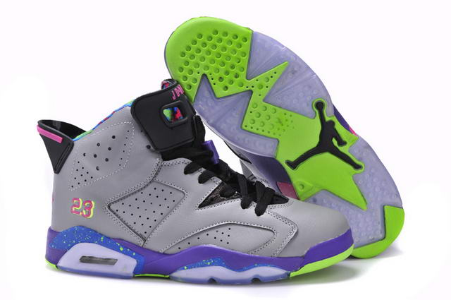 Women's Jordan 6 Retro Shoes Cool gray/Purple pink green blk