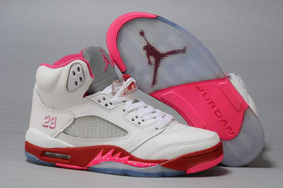 Womens Air Jordan 5 (V) Retro Shoes white/red pink