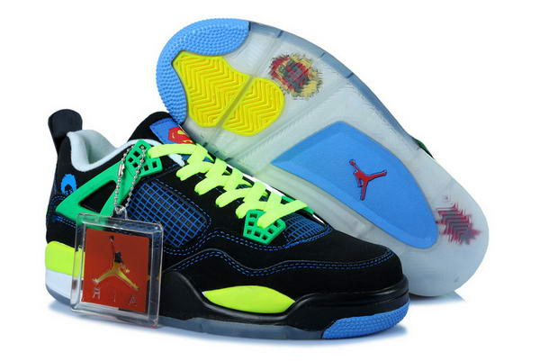 Air Jordan 4 Womens Shoes black/gamma blue yellow