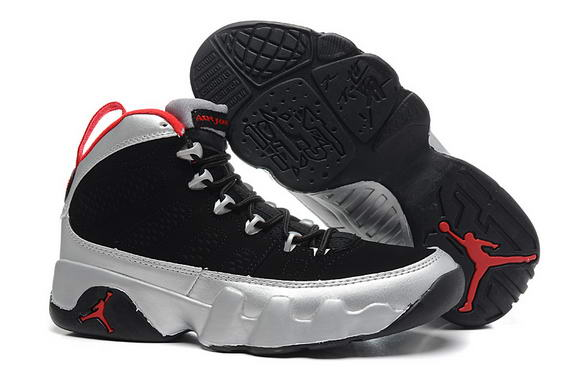 Womens Air Jordan 9 Retro Shoes silver/black red