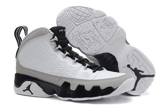Womens Air Jordan 9 Retro Shoes White/gray black