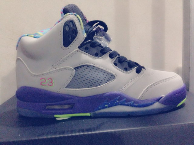 Air Jordan 5 For Womens Shoes gray/blue green pink