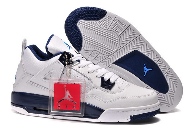 Air Jordan 4 For Womens Shoes white/blue