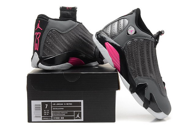 WMNS Air Jordan 14 Shoes Gray/pink