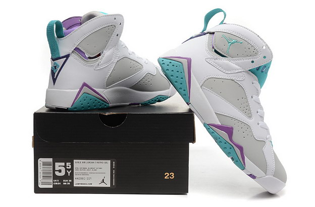 WMNS Air Jordan 7 GS Shoes White/blue purple