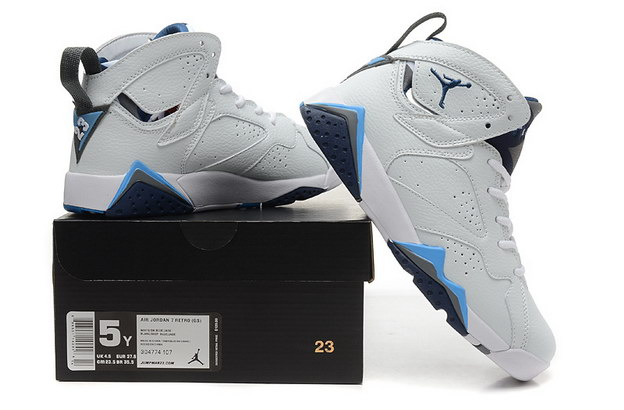 WMNS Air Jordan 7 GS Shoes White/French blue black