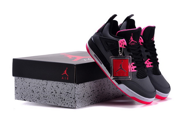 Air Jordan 4 GS HYPER PINK Shoes Black/pink white